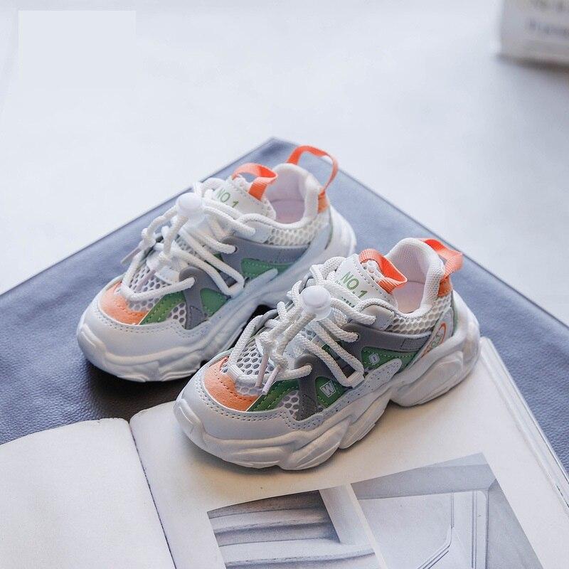 Демисезонные детские кроссовки для мальчиков и девочек, Повседневные Дышащие Мягкие Нескользящие кроссовки с одной сеткой, спортивная обу...