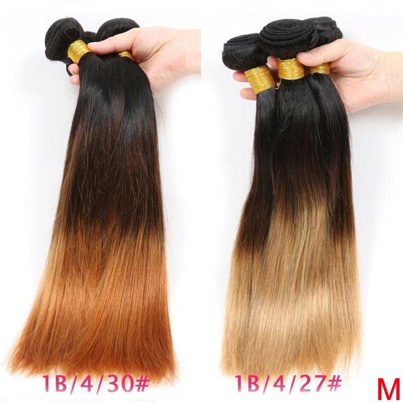 Mechones de cabello liso peruano Ombre 1B 4/27/30 Color 100% mechones de cabello humano postizo 8 26 pulgadas extensión de cabello Remy 3/4 mechones
