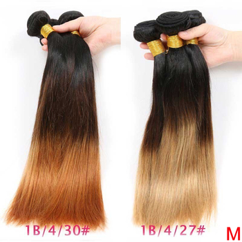 Peruvian Straight Hair Bundles Ombre 1B 4/27/30 Color 100% Human Hair Weave Bundles 8-26inches Remy Hair Extension 3/4 Bundles
