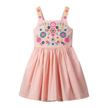 Little maven dress Girls 2021 Summer Clothes Floral Applique Summer Princess Cotton Dresses Flower Print Cotton Party Dresses 1