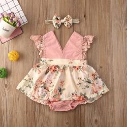 2 шт., детский кружевной комбинезон с открытыми плечами и цветочным принтом