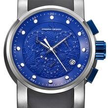 55 мм Pagani Дизайн синий циферблат хронограф кварцевые мужские часы тисненый Дракон роскошные часы силиконовые модные спортивные мужские часы