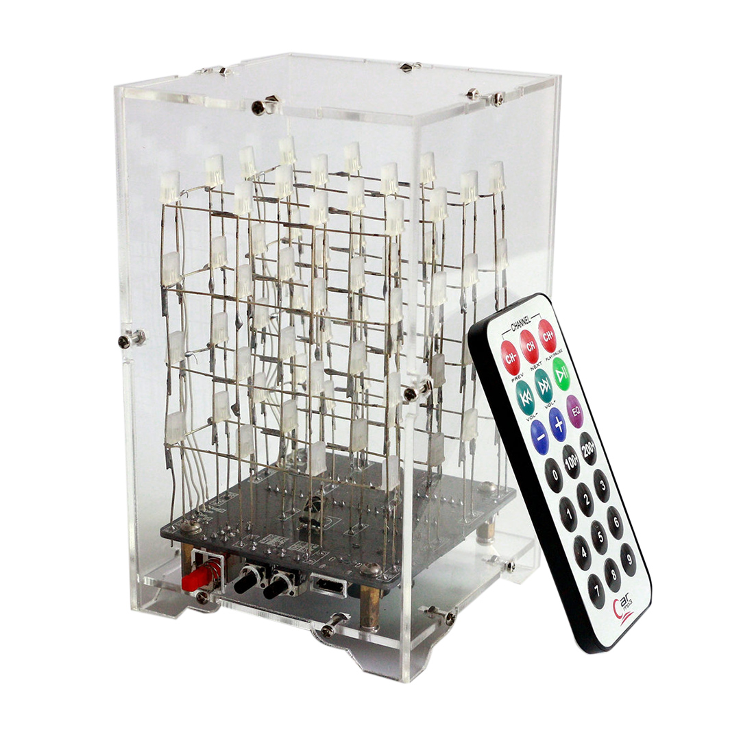 Surwish DIY Welding Electronic Bulk Parts Music Light Cube Kit (Remote Control, Seven Colours Changing, USB Power Supply)