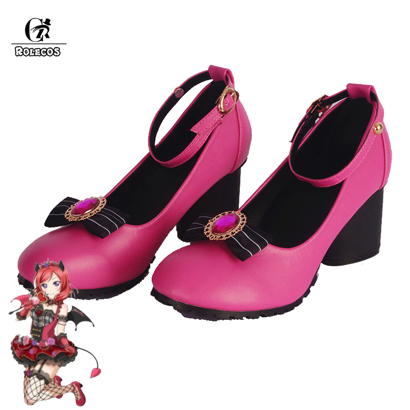 ROLECOS Anime Love Live Cosplay <font><b>Shoes</b></font> Love Live Sunshine Cosplay <font><b>Lolita</b></font> <font><b>Shoes</b></font> Takami Chika Girls <font><b>Red</b></font> High Heel Cosplay <font><b>Shoes</b></font> image