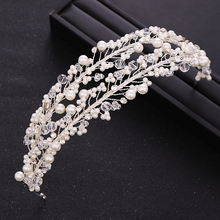Trendy White Pearl Crystal Bride Hair Accessories Wedding Crown Headband Band Headdress Handmade