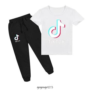 Tik Tok zestaw ubrań letnie ubrania chłopięce garnitur moda zestawy dla niemowląt dorywczo Hip Hop dzieci dziewczyna ubrania bawełniane śmieszne tanie i dobre opinie Aktywne CN (pochodzenie) Z okrągłym kołnierzykiem Brak Tik Tok clothes COTTON POLIESTER Unisex SHORT REGULAR Pasuje na mniejsze stopy niezwykle Proszę sprawdzić informacje o rozmiarach ze sklepu