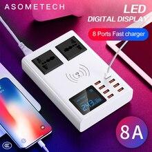 Зарядное устройство с 8 USB портами и цифровым светодиодным дисплеем