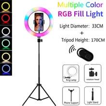 Luzes de vídeo rgb selfie led anel luz regulável lâmpada anel com suporte tripés borda da luz para tiktok youtube maquiagem ringlight