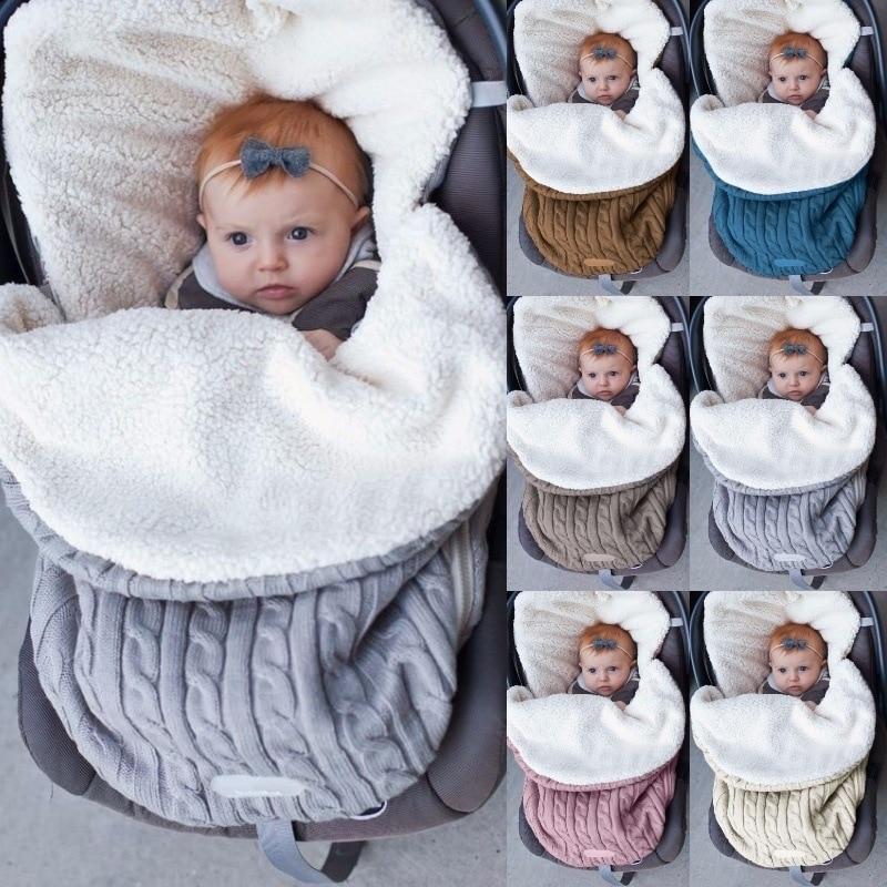 Baby Sleeping Bag Newborn Cocoon Extract Envelope For Newborns Baby Pram Swaddle Winter Knitted Stroller Kids Spiworek