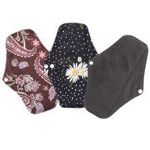 Serviette hygiénique réutilisable au charbon de bambou, tampons en coton pour les règles, lavable, doublure de culotte, pour femmes en bonne santé