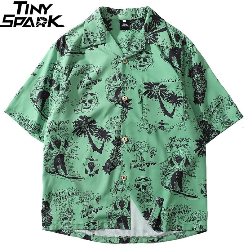 2019 Hip Hop Shirt Streetwear Men Hawaiian Shirts Graffiti Skull Tree Harajuku Summer Beach Shirt Green Tops Short Sleeve Casual