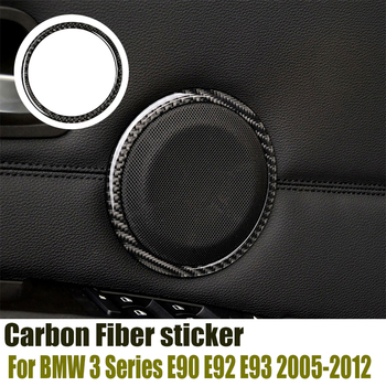 Carbon Fiber Car door Speaker Decorative Circle Sticker Loudspeaker Trim For BMW E90 320i 325i E84 X1 Car Styling Accessories image