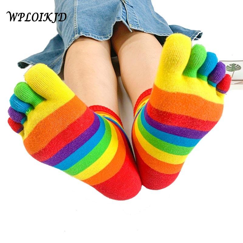 WPLOIKJD Autumn Winter Cute Funny Five Fingers Rainbow Color Striped Printed Toe Ankle Socks Women Cotton Harajuku Korean Female