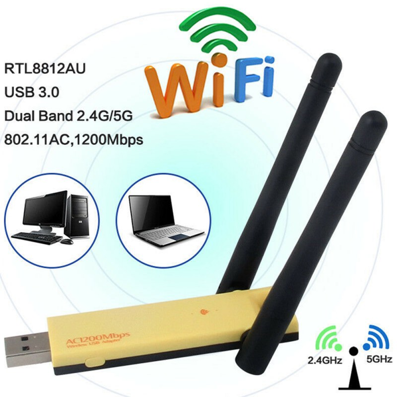Dual Band 1200Mbps Wireless USB 3.0 Realtek RTL8812AU Wifi Adapter 2.4G/5Ghz Network Card Dongle with Antenna For Windows Mac OS image