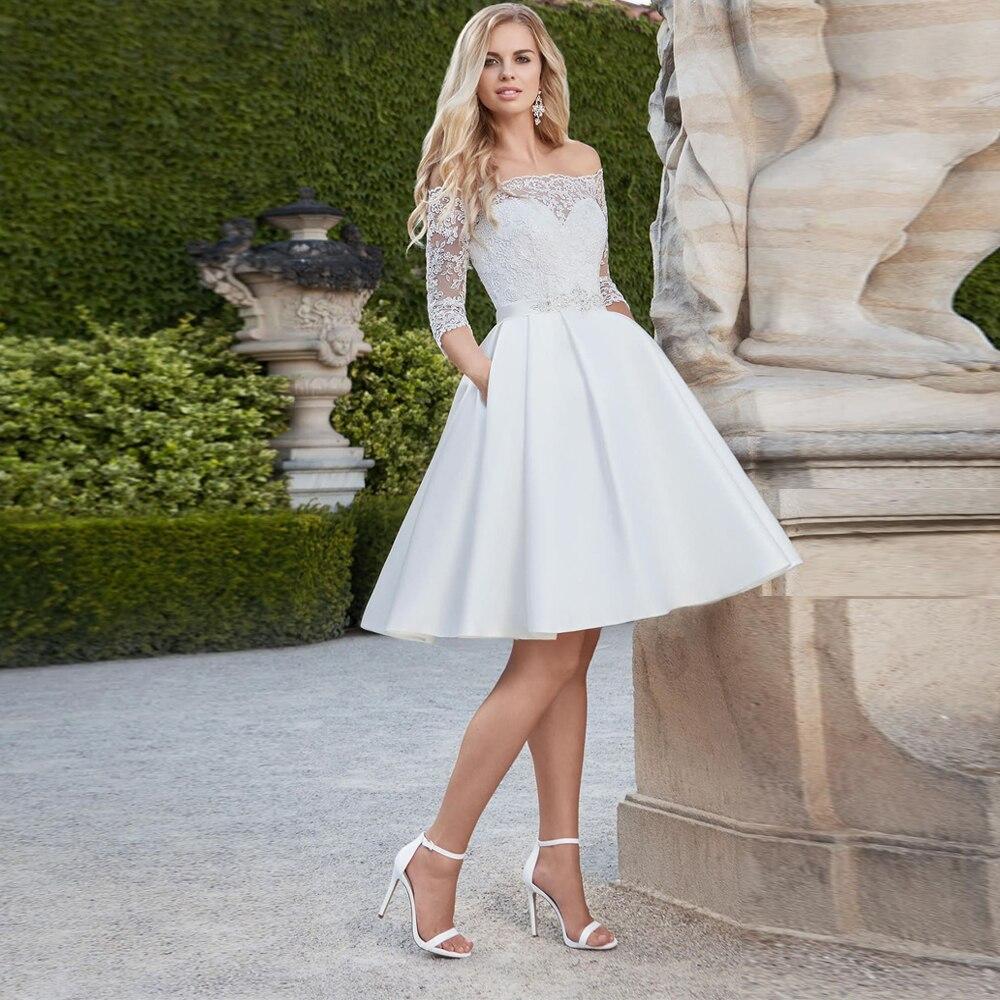 Elegant Short Wedding Dresses Vestido De Noiva Boat Neck Off Shoulder Lace Back Buttons A-line Satin Bridal Gown Plus Size