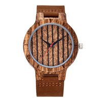 Premium Cork Wood Stripe Design Wristwatch Mens Women Wrist Quartz Watch Men Ladies Soft Material Leather Strap Decorate Watches