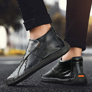 Image 5 - 2019 New Men Leather Boots Winter Snow Boots Warm Plush Leather Casual Shoes Plush Ankle Boots Fashion Winter Men Shoes Size 48