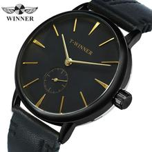 WINNER Official Simple Mechanical Watch Men Genuine Leather Strap Rose Gold Poin