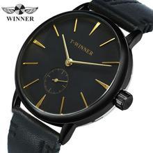 Zwycięzca oficjalny prosty mechaniczny zegarek mężczyźni prawdziwy skórzany pasek różowe złoto wskaźnik moda marka zegarki luksusowe dla miłośników prezent