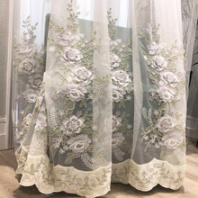 European high-end luxury window screen embossed rope embroidery flower tulle curtain for living room bedroom beige sheer  ZH400X