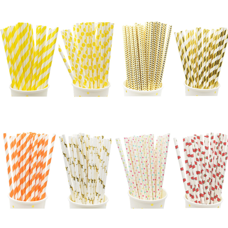 25pcs Paper Straws Christmas Yellow Wedding New Year Decoration Birthday Party Supplies Home Party Decoration Favors