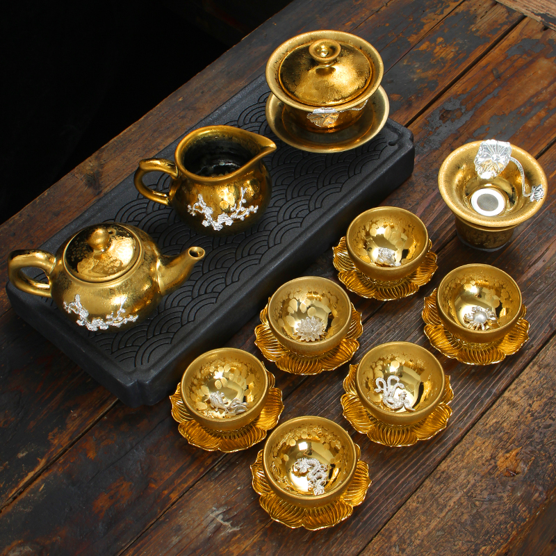 Silver Tea Set Oil Drop Iron Tire Set Kung Fu Ceramic Household Sterling Silver Tea Cup Lid Bowl Teapot