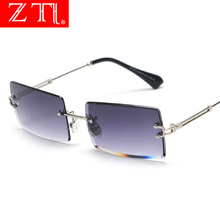ZT New Rimless Square Sunglasses for Women Brand Designer Rectangle Gradient Retro Men