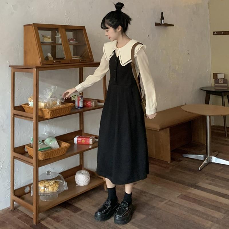 Чай французских Женщин на весну и осень, комплект с подтяжками соль сладкие жареные улица юбка в ретро-стиле Хепберн Платье черного цвета