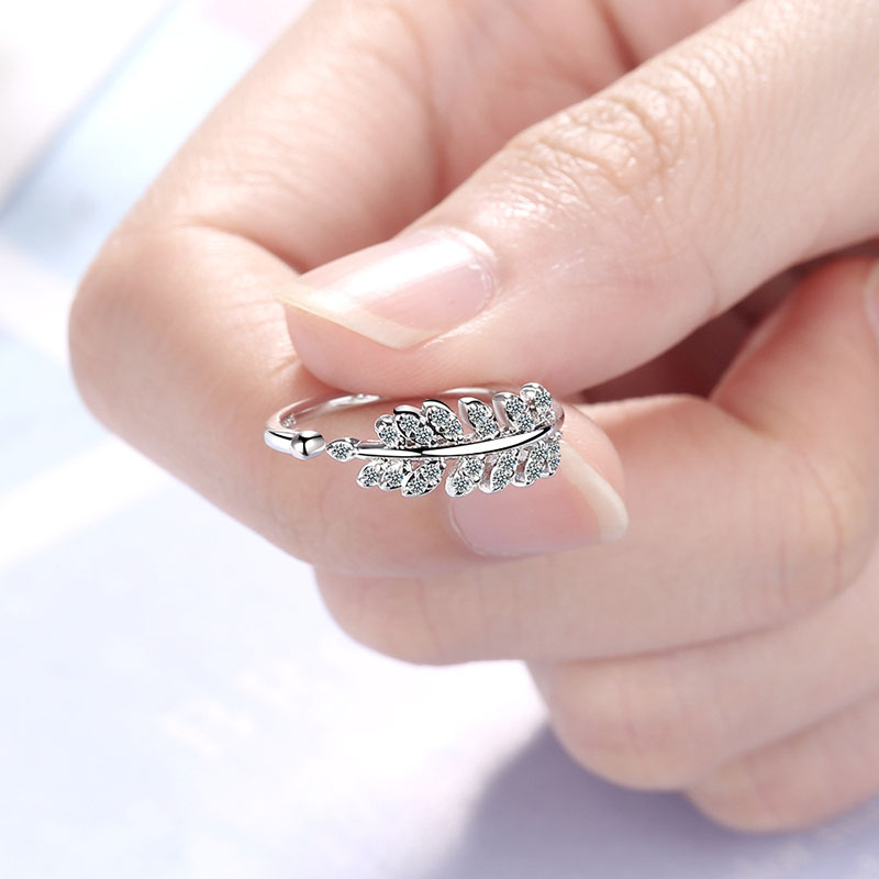 Foxanry 925 Sterling Silver New Terndy Olive Leaves Finger Ring Exquisite Handmade Crystal anillos for Women Engagement Jewelry