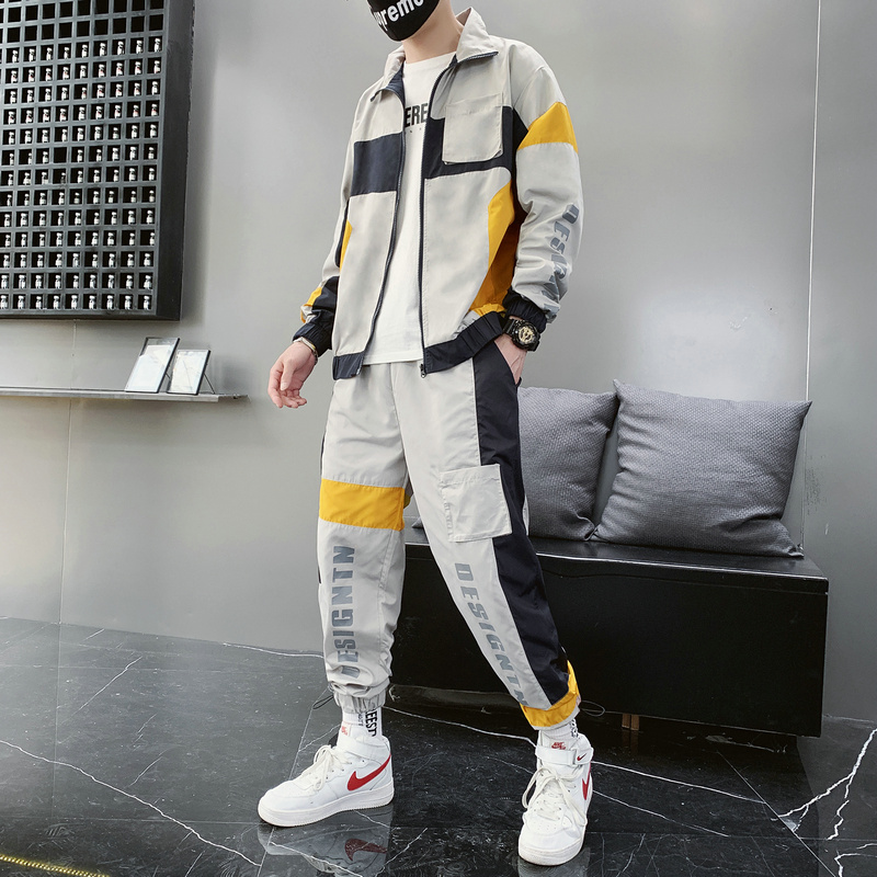 Men's Sports Suits Loose Printing Casual Jacket+Sports Pants 2PCS Autumn Suit Zipper Black Fashion Jogging Track Suit 5XL D8