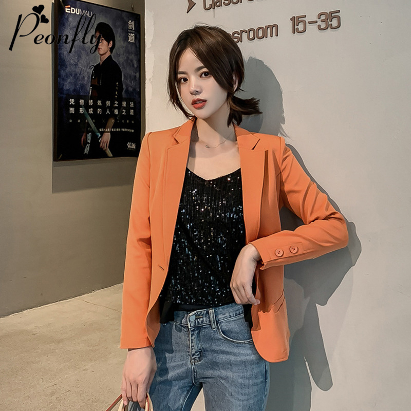 PEONFLY New 2019 Autumn Winter Women Formal Jackets Office Work Single Button Notched Ladies Blazer Coat Hot Sale Fashion