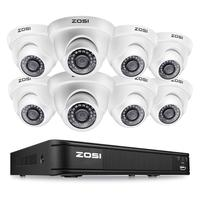 ZOSI 8CH 1080P Dome Camera Video Monitor Video Surveillance System Protector Control DVR CCTV Kit BNC Cable HDD Outdoor Indoor