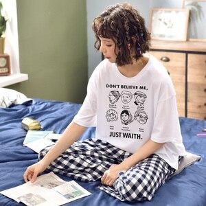 Image 5 - Kobiety dziewczęta odzież domowa ubrania z krótkim rękawem letnie sprawdzone zestawy piżamowe chusta bawełniana bielizna nocna salon O neck odzież wewnętrzna