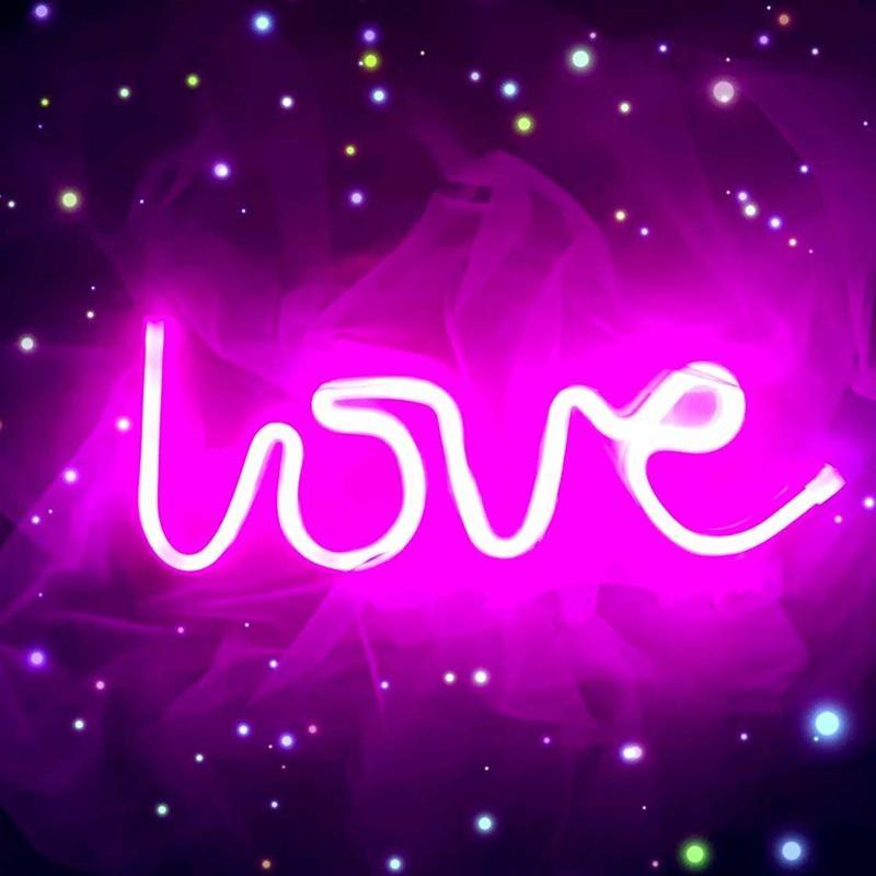 Neon Light Sign Wall Decor Night Lights Home Decor Party Holiday Valentines Day Christmas Decoration Light Lamp Gift USB Battery