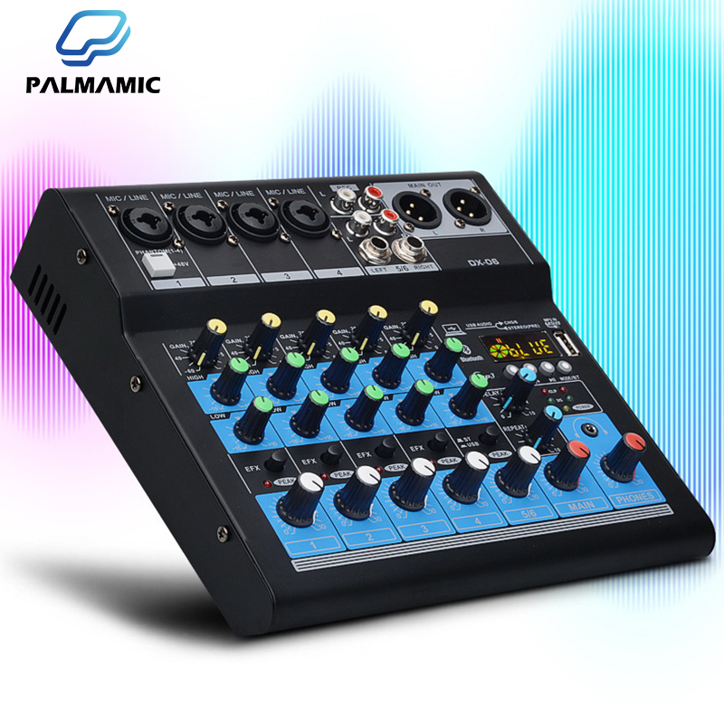 Professional Audio-Mixer Sound Card DJ Mixing-Console System USB Bluetooth Interface 48V Phantom Power 4/6 Channels Music-Mixer