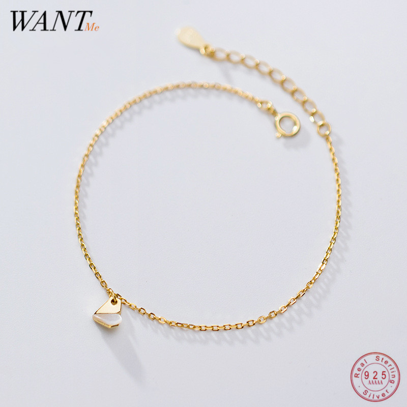 WANTME Genuine 100% 925 Sterling Silver Simple Golden Love Shell Charm Chain Bracelets&Bangle For Women Minimalist Fine Jewelry