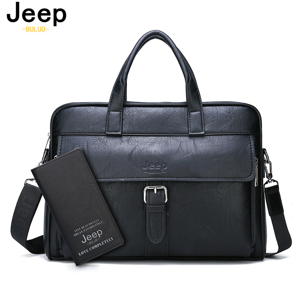 JEEP BULUO Men's New Business Briefcase Bag High Quality Travel Handbag For Man Split Leather 14 Inches Laptop Messenger Bags