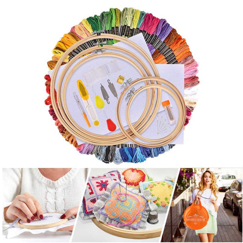 DIY 3D Embroidery Thread Starter Kit Fabric Set Cross Stitch Craft Cloth Tools