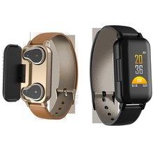 T89 Smart Binaural Bluetooth Headphone Fitness Bracelet Heart Rate Monitor Wristband Sport Watch Men Women