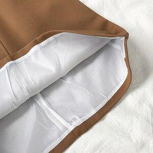 Image 5 - חצאיות נשים רטרו מוצק אלגנטי קוריאני סגנון גבוה מותן נשים כל התאמה רך גבירותיי קיץ שיק לנשימה כיסי חצאית 2020