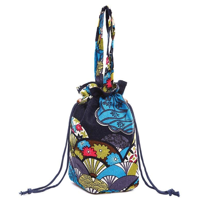Women Girl  Personality Drawstring  Linen Cotton Bags  Cloth Handbags Pocket Shoulder Bucket Canvas Pouch Retro Bag Mobile Phone