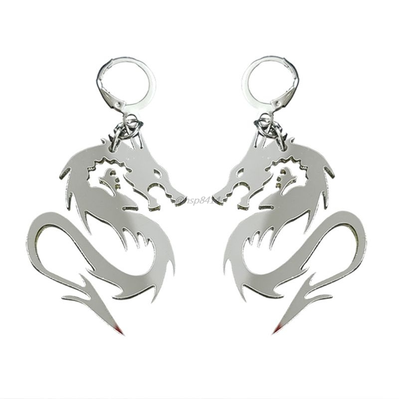 Super Cool Shiny Silver Color Dragon Totem Acrylic Drop Earrings Animal Mirror Dragon Hoop Earrings Fashion Jewelry Unisex