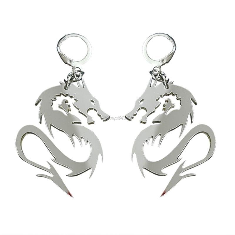Super Cool Shiny Silver Color Dragon Totem Acrylic Drop Earrings Animal Mirror Dragon Hoop Earrings Fashion Jewelry Unisex