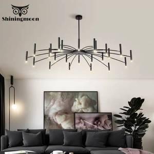 Image 1 - Lustre de decoração moderna, lustre de luminária preto com design criativo para sala de estar e sala de jantar