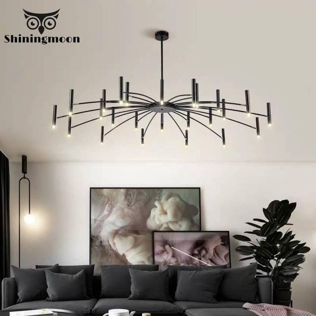 Lustre de decoração moderna, lustre de luminária preto com design criativo para sala de estar e sala de jantar
