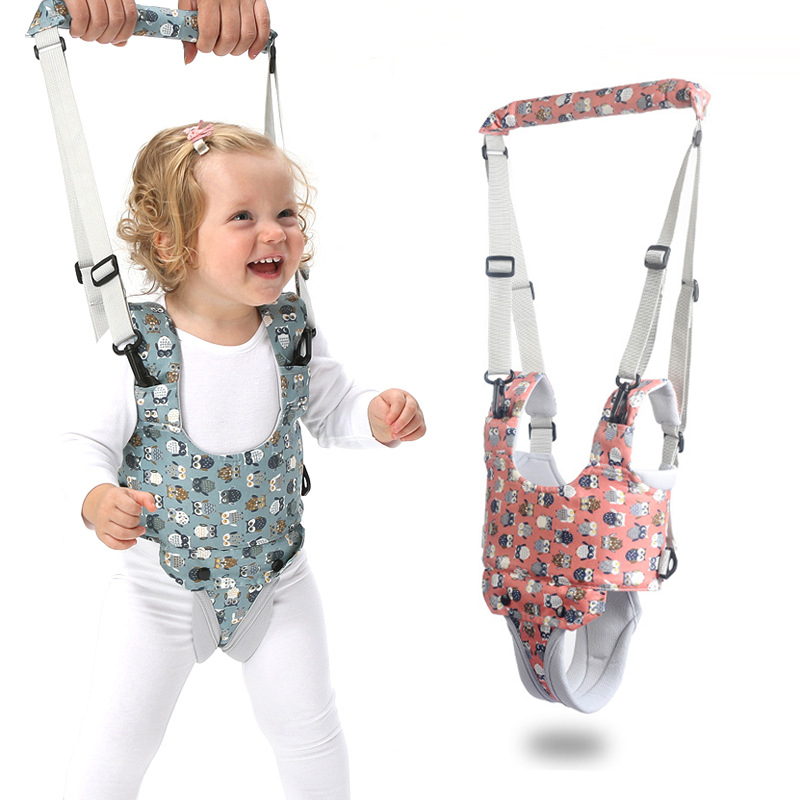 Cartoon Print Baby Walker Harness Walking Assistant Owl PatternToddler Multi-functional Walk Learning Belt Removable Crotch