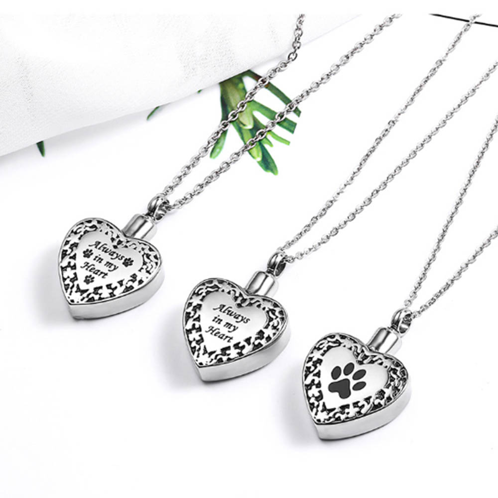 Paw Print Dog/Cat Paw Print Cremation Jewelry Ashes Holder Pet Stainless Steel Memorial Urn Necklace For Keepsake Pendant