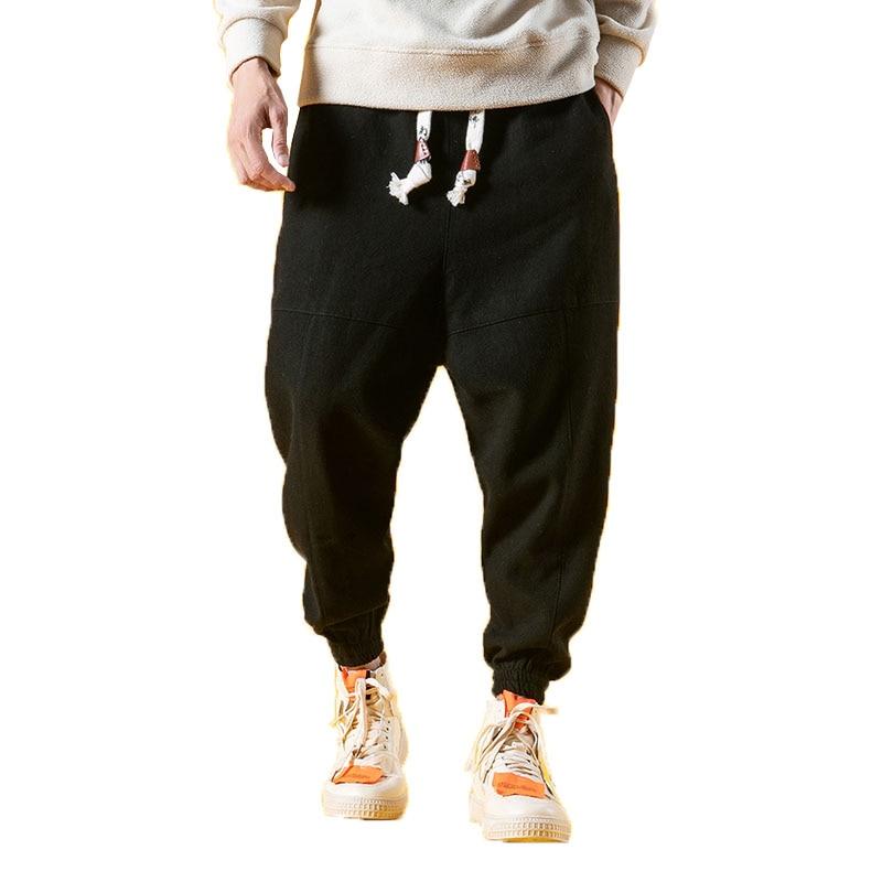 2019 Summer Linen Harem Pants Men Hip Hop Drop Pants Men Joggers Male Pantalones Hombre Retro Chinese Style Thin Sweatpants 5XL