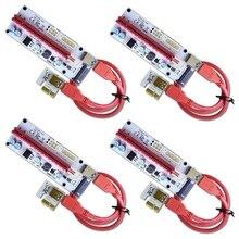 Bộ 4 VER 008S Điện Đa 16X Để 1X Powered Riser Card Adapter 60Cm USB 3.0 cáp Nối Dài GPU Nâng