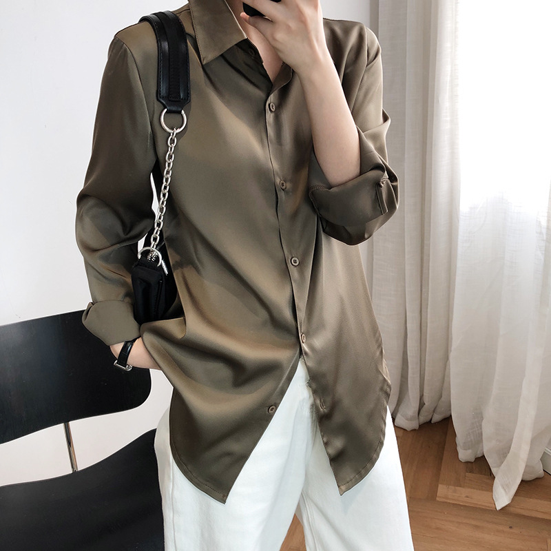 Satin Elegant Blouse Women Solid Long Sleeve Shirts Mujer Maxi Vintage Office Lady Ol Blouse Plus Size Women Tops White Khaki